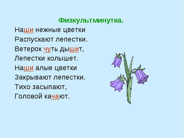 Физкультминутка. Наши нежные цветки Распускают лепестки. Ветерок чуть дышит, ...