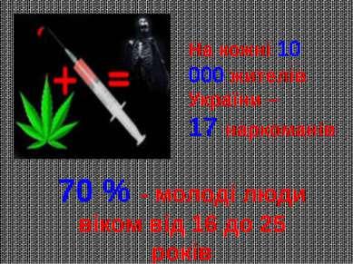 На кожні 10 000 жителів України – 17 наркоманів 70 % - молоді люди віком від ...