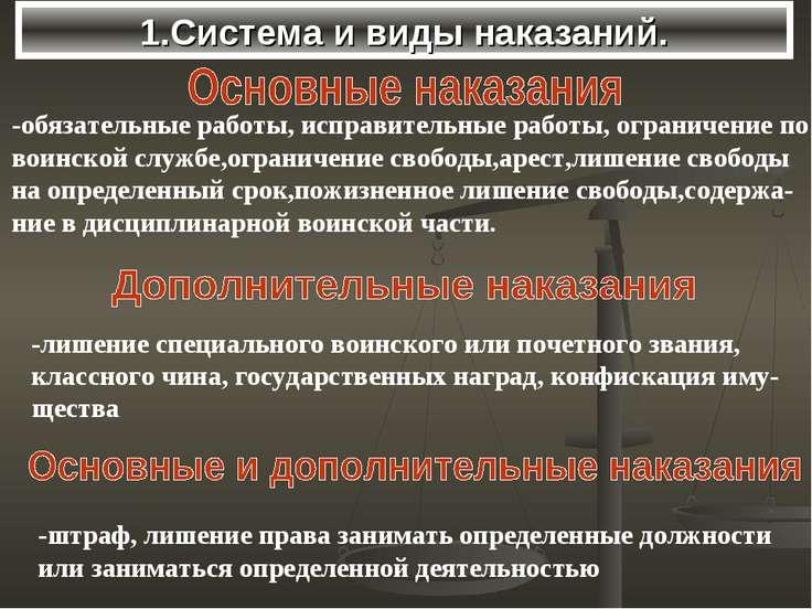 1.Система и виды наказаний. -лишение специального воинского или почетного зва...