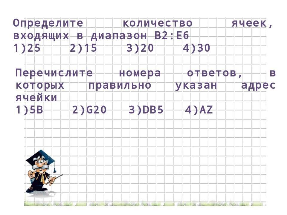 Определите количество ячеек, входящих в диапазон B2:E6 1)25 2)15 3)20 4)30 Пе...