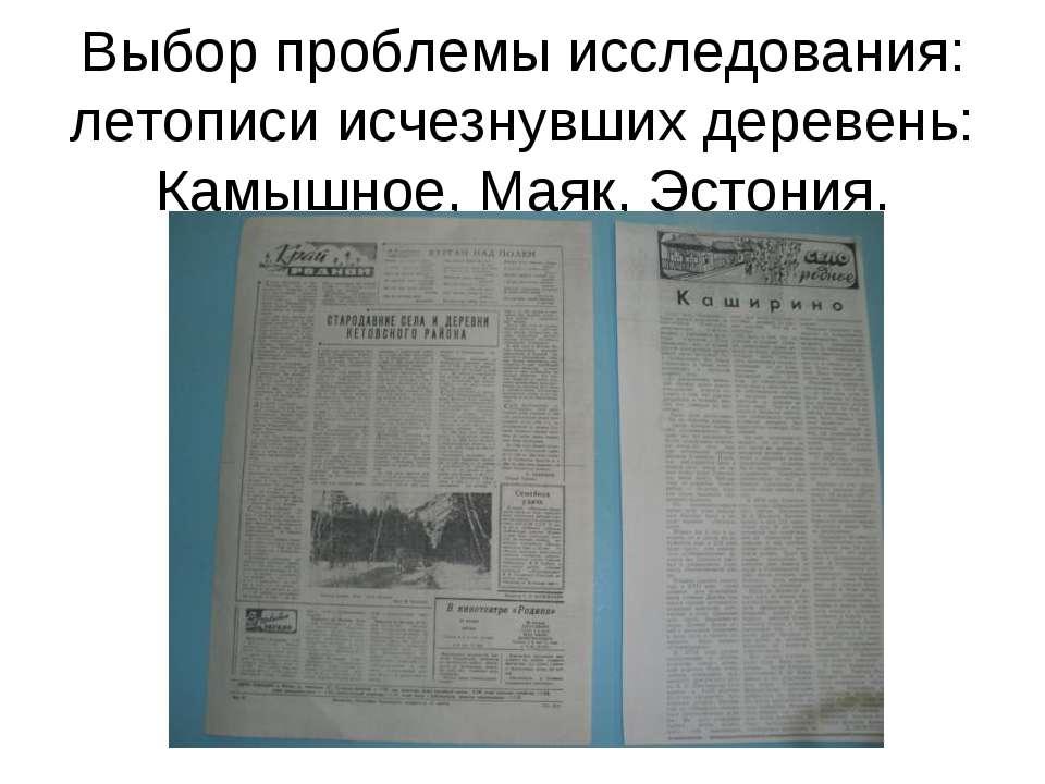Выбор проблемы исследования: летописи исчезнувших деревень: Камышное, Маяк, Э...