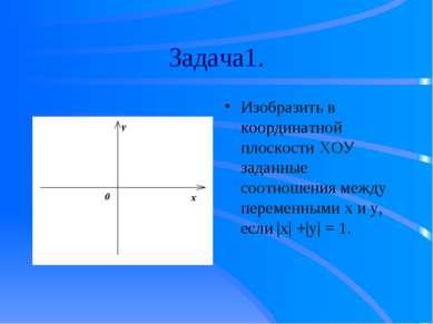 Задача1. Изобразить в координатной плоскости ХОУ заданные соотношения между п...