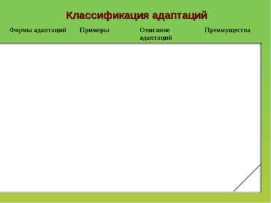 Классификация адаптаций Формы адаптаций Примеры Описание адаптаций Преимущества