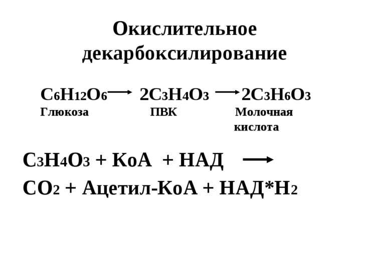 Окислительное декарбоксилирование С3Н4О3 + КоА + НАД СО2 + Ацетил-КоА + НАД*Н...