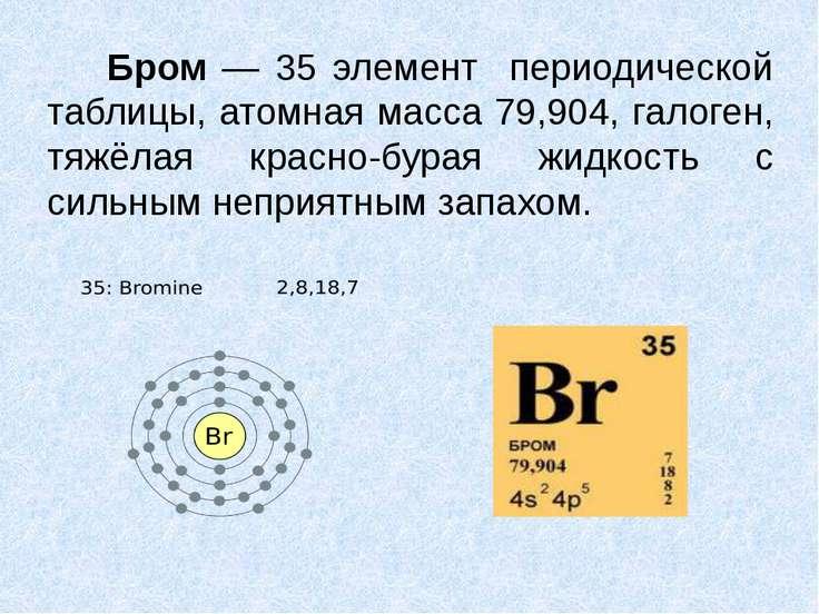 Бром — 35 элемент периодической таблицы, атомная масса 79,904, галоген, тяжёл...