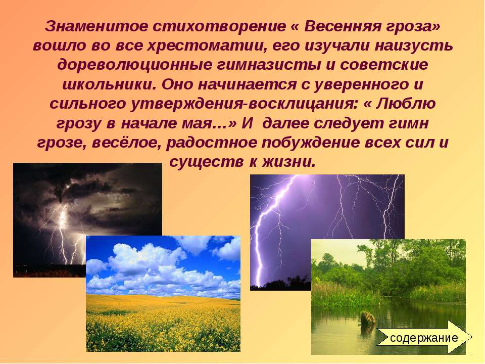 Знаменитое стихотворение « Весенняя гроза» вошло во все хрестоматии, его изуч...