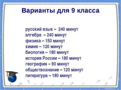 Варианты для 9 класса русский язык – 240 минут алгебра – 240 минут физика – 1...