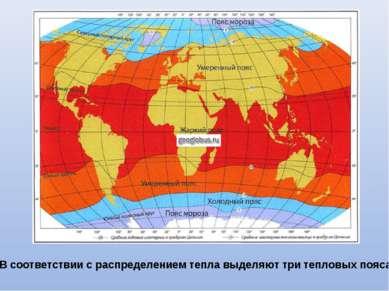 В соответствии с распределением тепла выделяют три тепловых пояса.