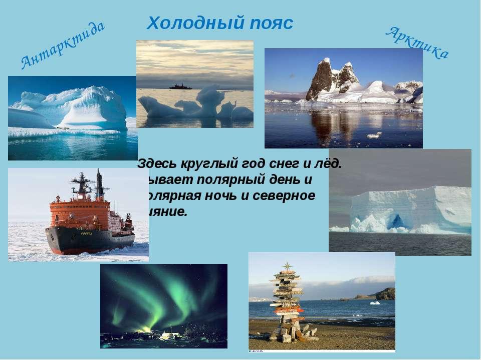 Здесь круглый год снег и лёд. Бывает полярный день и полярная ночь и северное...