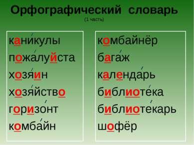 Орфографический словарь (1 часть) каникулы пожалуйста хозяин хозяйство горизо...