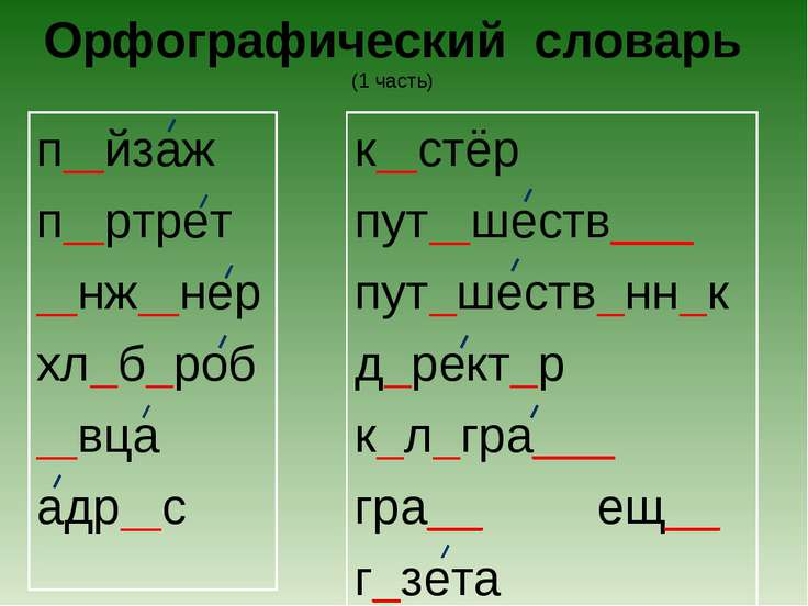 Орфографический словарь (1 часть) п йзаж п ртрет нж нер хл б роб вца адр с к ...