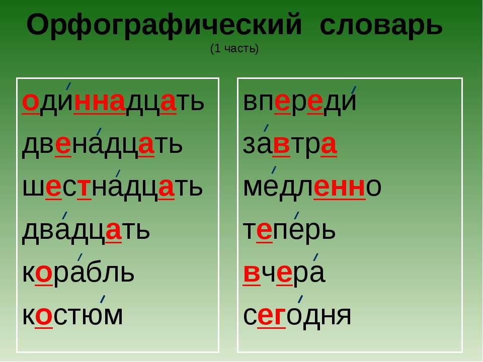 Орфографический словарь (1 часть) одиннадцать двенадцать шестнадцать двадцать...