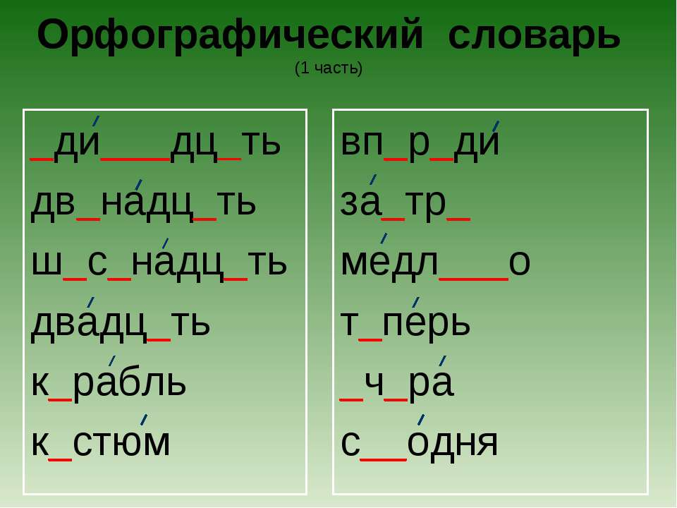 Орфографический словарь (1 часть) _ди___дц_ть дв_надц_ть ш_с_надц_ть двадц_ть...