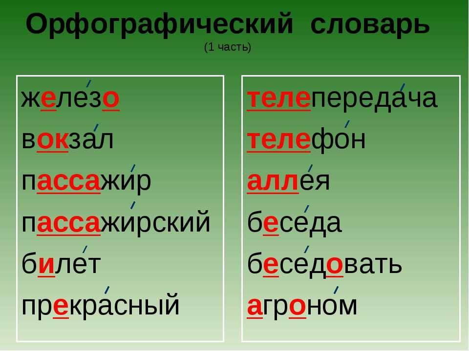 Орфографический словарь (1 часть) железо вокзал пассажир пассажирский билет п...