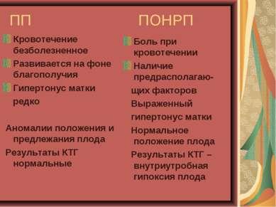 ПП ПОНРП Кровотечение безболезненное Развивается на фоне благополучия Гиперто...