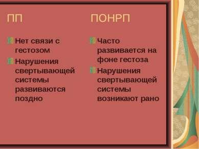 ПП ПОНРП Нет связи с гестозом Нарушения свертывающей системы развиваются позд...
