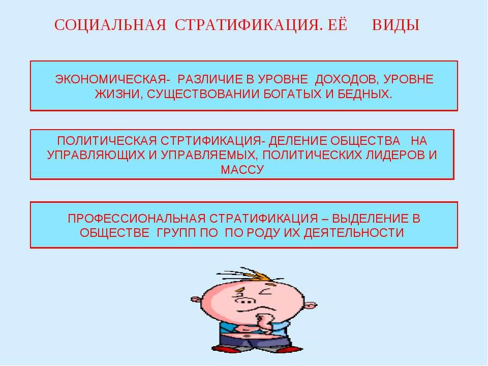 СОЦИАЛЬНАЯ СТРАТИФИКАЦИЯ. ЕЁ ВИДЫ ЭКОНОМИЧЕСКАЯ- РАЗЛИЧИЕ В УРОВНЕ ДОХОДОВ, У...