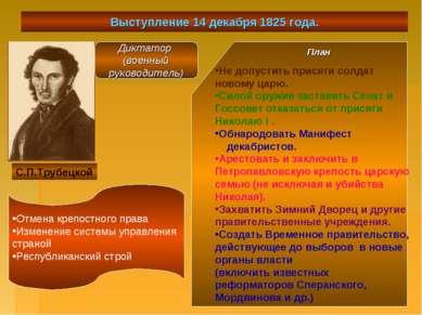 Выступление 14 декабря 1825 года. С.П.Трубецкой Диктатор (военный руководител...