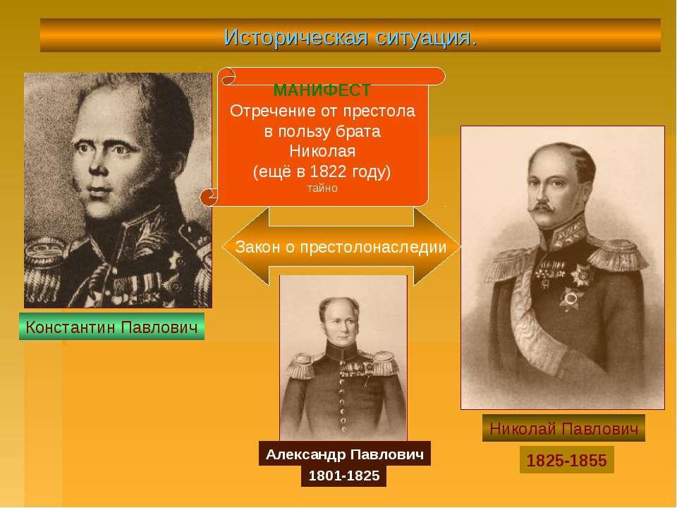 Историческая ситуация. Константин Павлович Николай Павлович 1825-1855 МАНИФЕС...