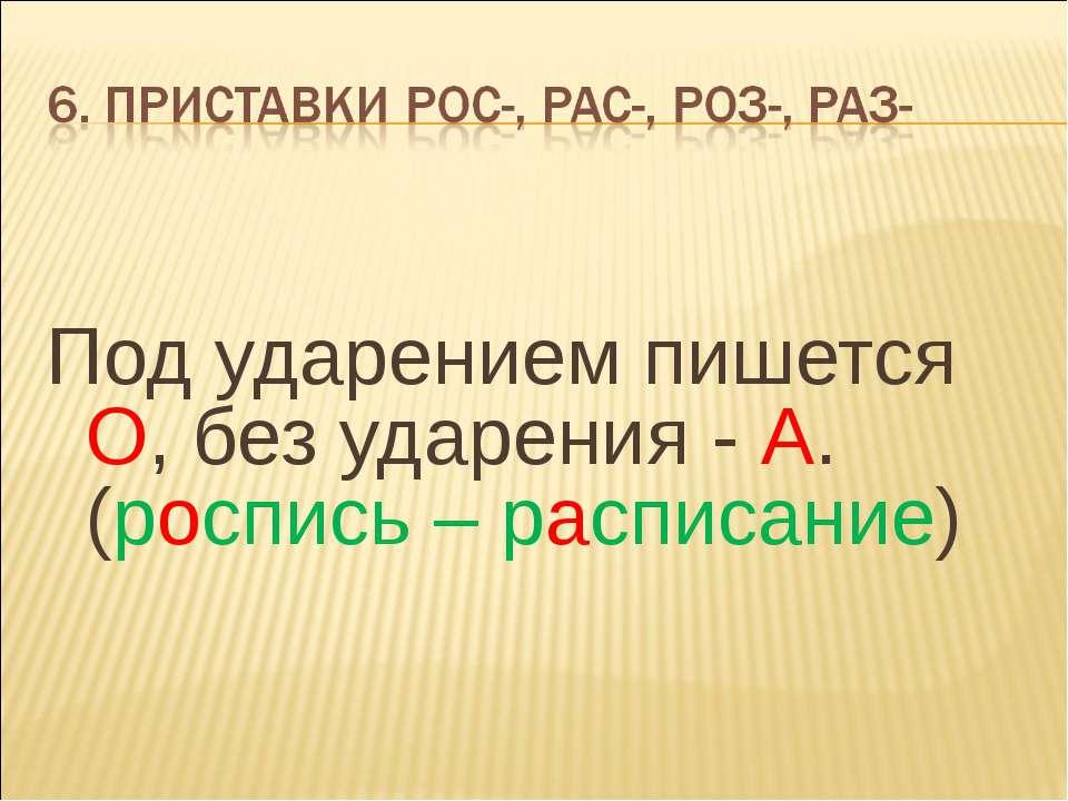 Под ударением пишется О, без ударения - А. (роспись – расписание)