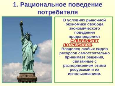 1. Рациональное поведение потребителя В условиях рыночной экономики свобода э...