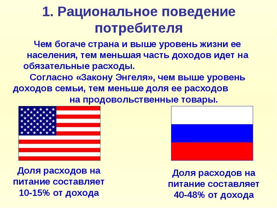 1. Рациональное поведение потребителя Чем богаче страна и выше уровень жизни ...
