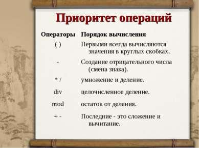 Приоритет операций Операторы Порядок вычисления ( ) Первыми всегда вычисляютс...