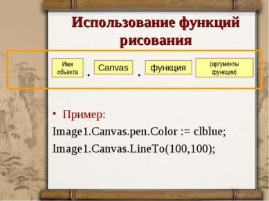 Использование функций рисования Имя объекта . Canvas (аргументы функции) Прим...