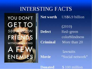 INTERSTING FACTS Net worth US$6.9 billion (2010) Defect Red–green colorblindn...