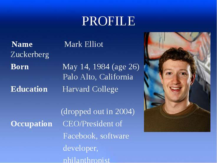 PROFILE Name Mark Elliot Zuckerberg Born May 14, 1984 (age26) Palo Alto, Cal...