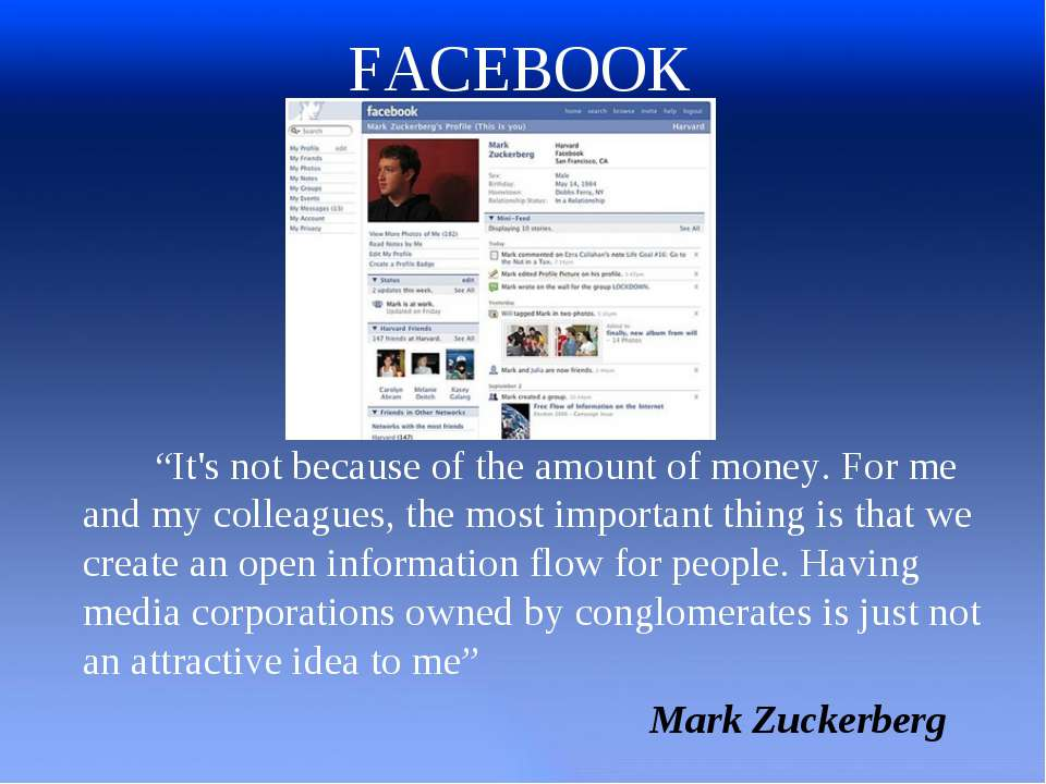 "FACEBOOK ""It's not because of the amount of money. For me and my colleagues, ..."