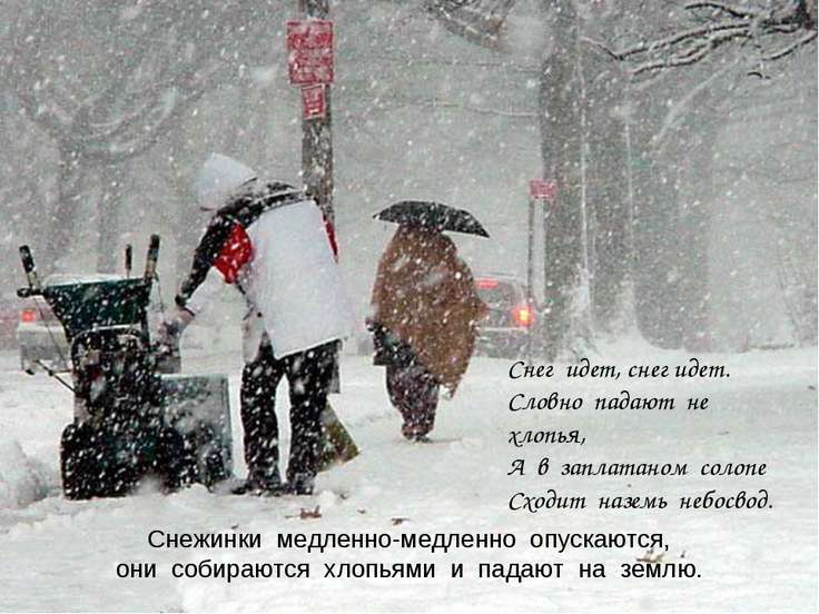 Снежинки медленно-медленно опускаются, они собираются хлопьями и падают на зе...
