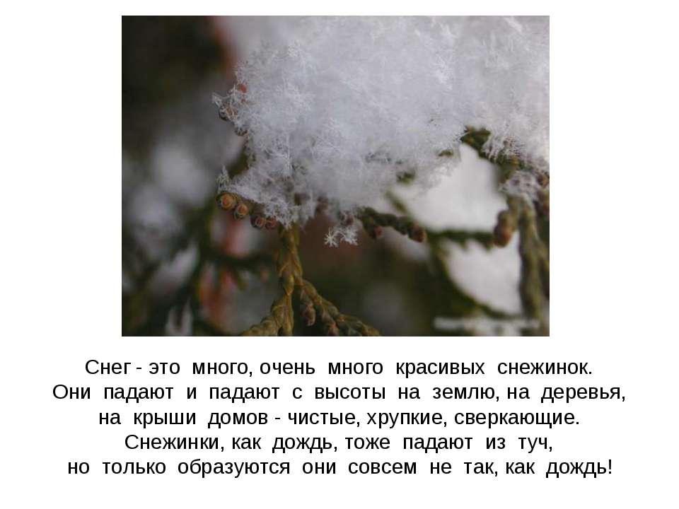 Снег - это много, очень много красивых снежинок. Они падают и падают с высоты...