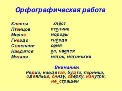 Орфографическая работа Клесты Птенцов Мороз Гнездо Семенами Наедятся Мягкая к...