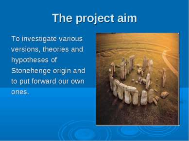 The project aim To investigate various versions, theories and hypotheses of S...