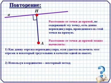 Повторение: А Н а Расстояние от точки до прямой, не содержащей эту точку, ест...