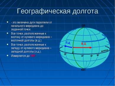 Географическая долгота - это величина дуги параллели от начального меридиана ...