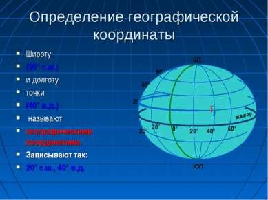 Определение географической координаты Широту (20° с.ш.) и долготу точки (40° ...