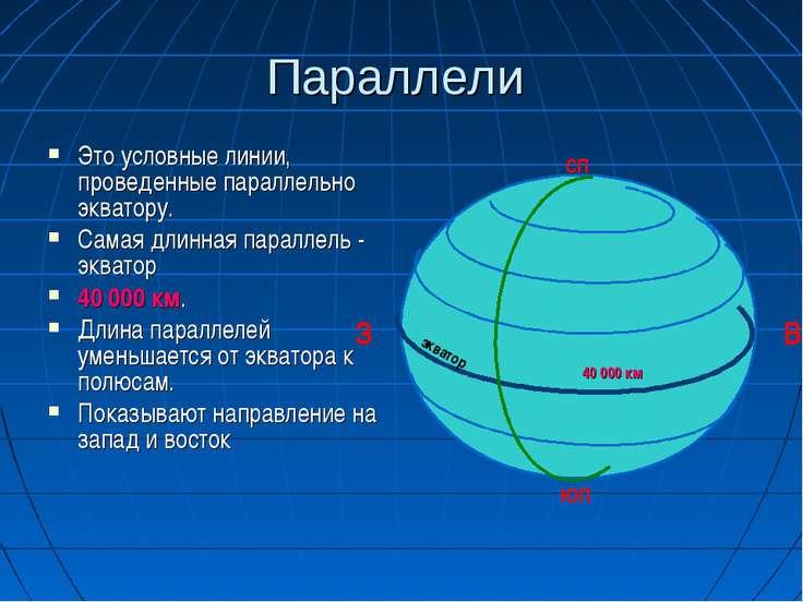 Параллели Это условные линии, проведенные параллельно экватору. Самая длинная...
