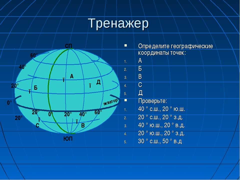 Тренажер Определите географические координаты точек: А Б В С Д Проверьте: 40 ...