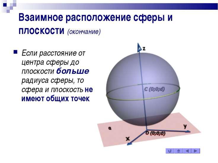 Взаимное расположение сферы и плоскости (окончание) Если расстояние от центра...