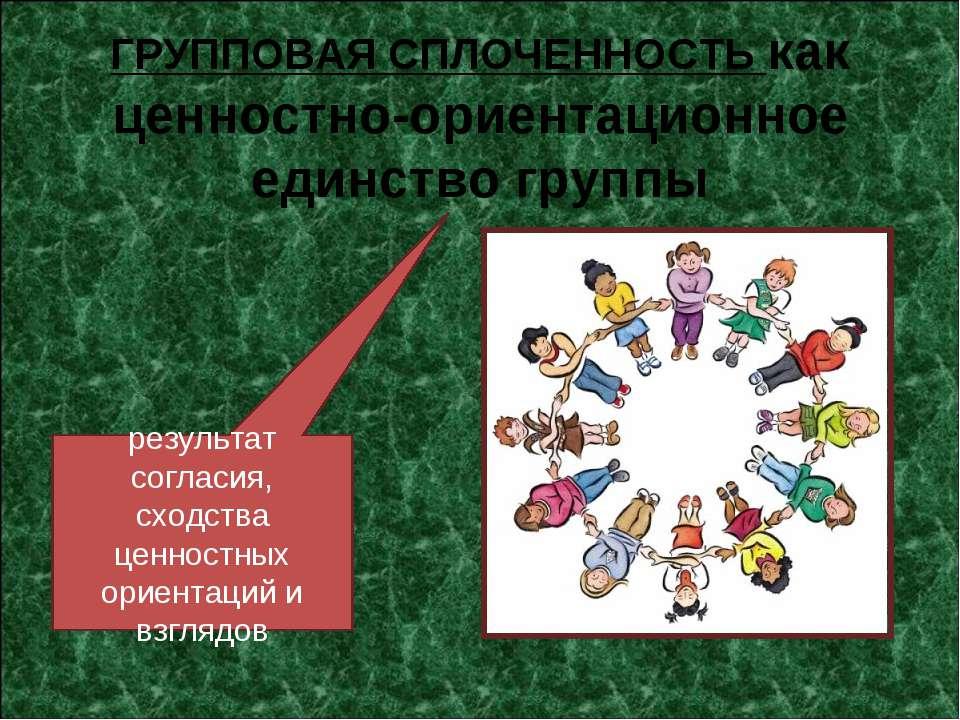 ГРУППОВАЯ СПЛОЧЕННОСТЬ как ценностно-ориентационное единство группы результат...