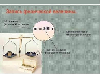 Запись физической величины. m = 200 г Обозначение физической величины Числово...