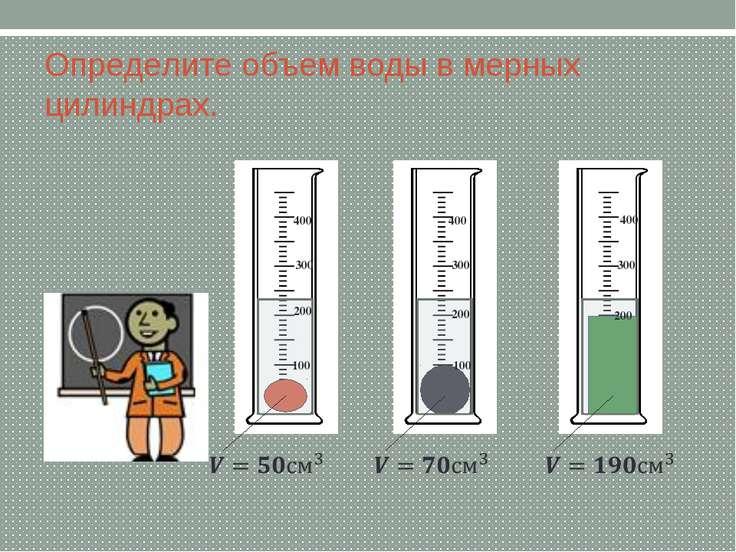 Определите объем воды в мерных цилиндрах. 100 200 300 400 100 200 300 400 200...
