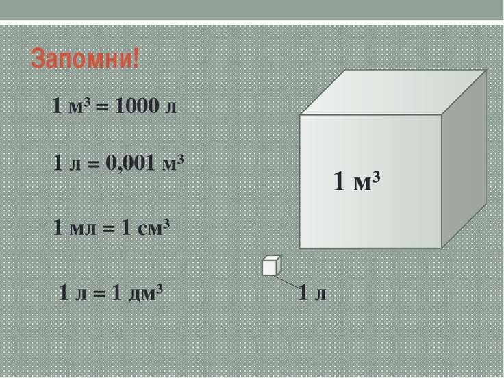 Запомни! 1 м³ = 1000 л 1 л = 0,001 м³ 1 мл = 1 см³ 1 л = 1 дм³ 1 л 1 м³
