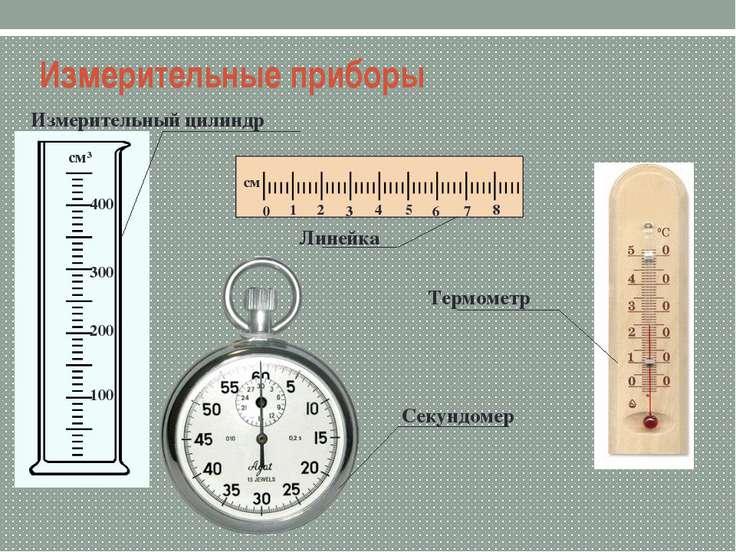 Измерительные приборы Измерительный цилиндр Линейка Термометр Секундомер 100 ...