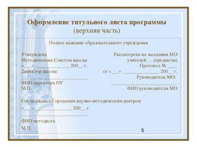 Оформление титульного листа программы (верхняя часть) Полное название образов...