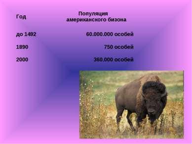 Год Популяция американского бизона до 1492 60.000.000 особей 1890 750 особей ...