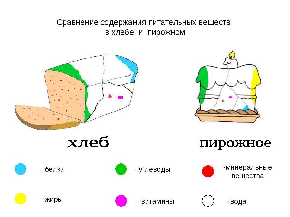 Сравнение содержания питательных веществ в хлебе и пирожном - белки - жиры - ...