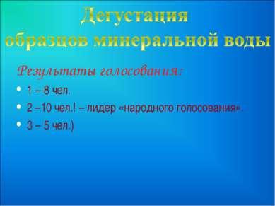Результаты голосования: 1 – 8 чел. 2 –10 чел.! – лидер «народного голосования...